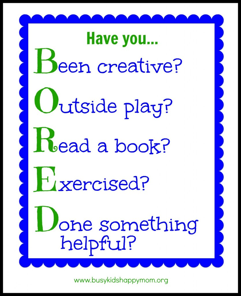 Bored Activity Chart with printable
