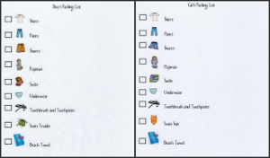 Vacation Packing – Free Packing Lists for boys and girls!