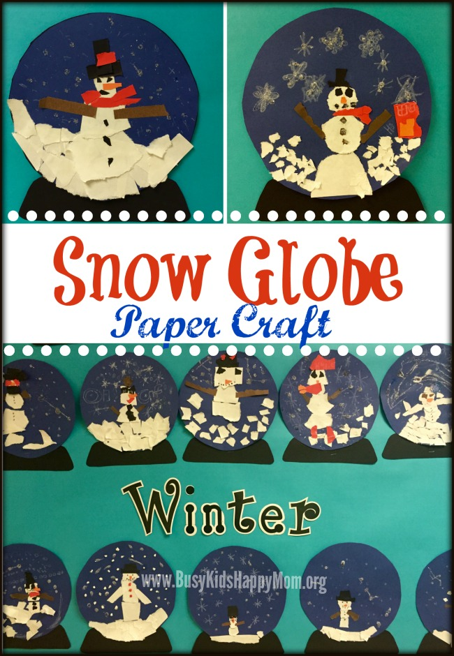 Snow globe paper craft for Snow globe craft for kids