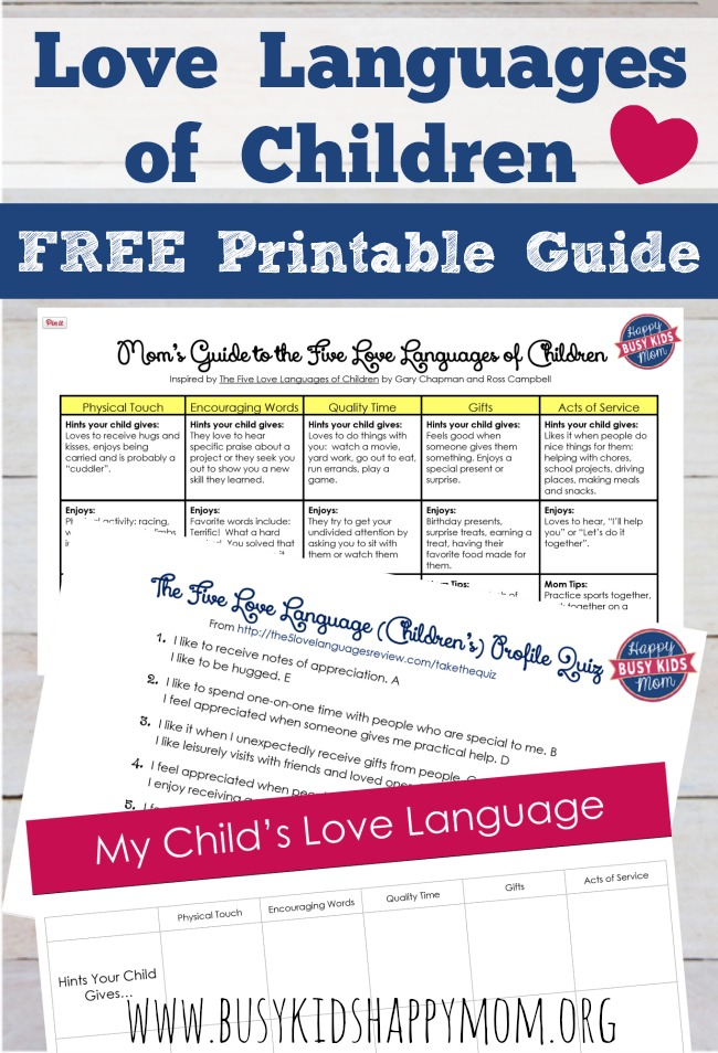 Mom's Guide to the Five Love Languages of Children. Printable Quiz, Love Languages, and Planning Guide.