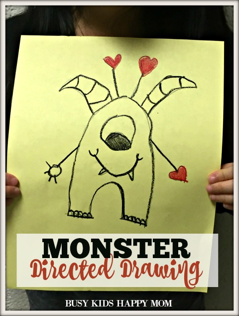 Monster Directed Drawing Valentine's Day, Father's Day, Directed Drawing