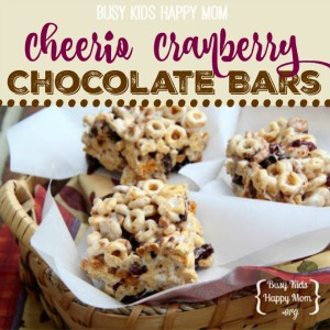 Cheerio Cranberry Chocolate Bars