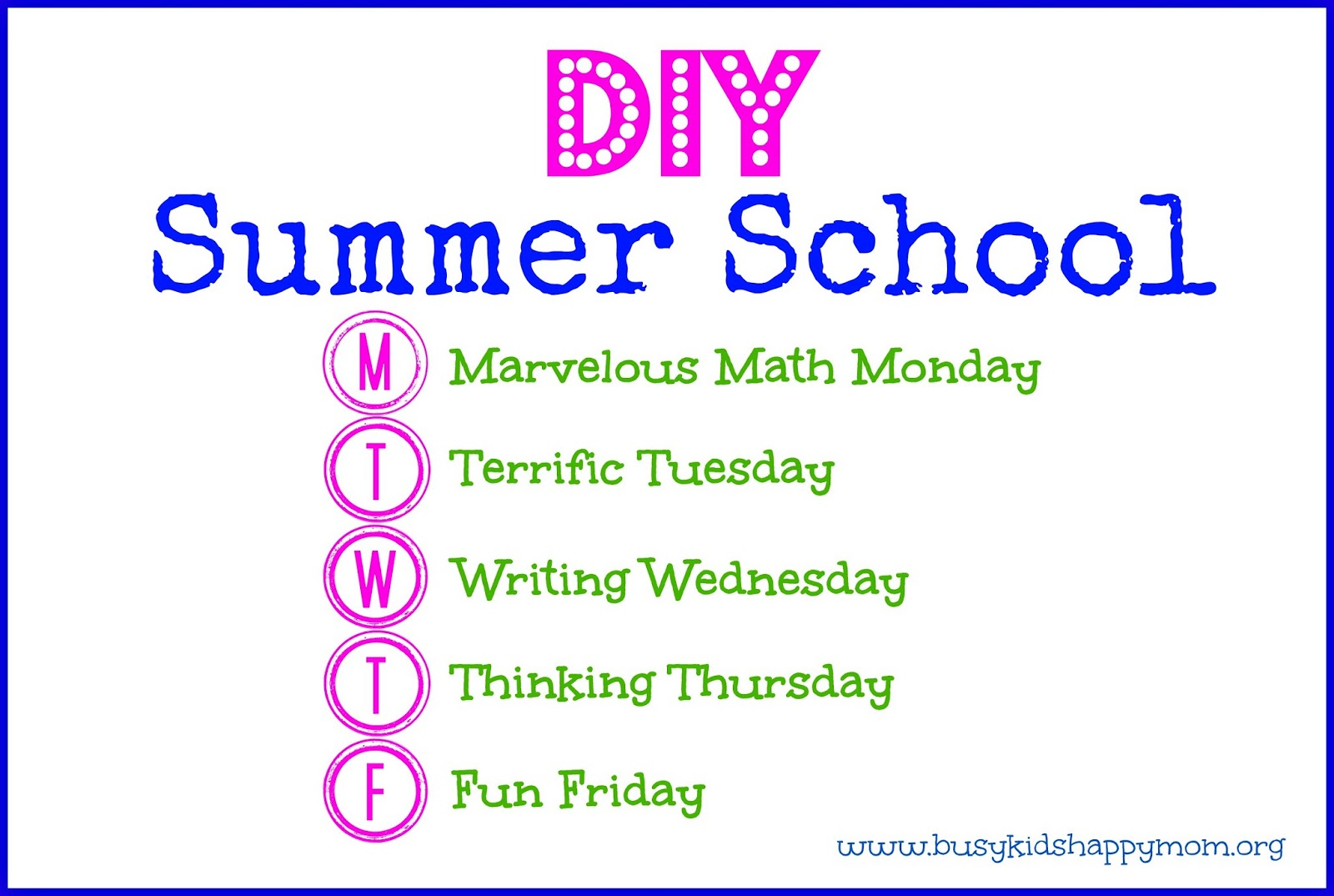 Do it yourself summer school from busy kids happy mom diy summer school fun ideas for each day of the week and simple activities to solutioingenieria Gallery