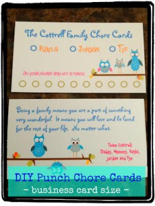 DIY Fancy Chore Card – using business cards!