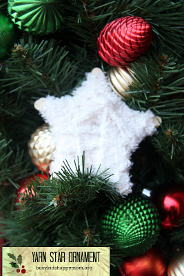 18+ Homemade Christmas Ornaments including this easy and beautiful yarn star ornament.