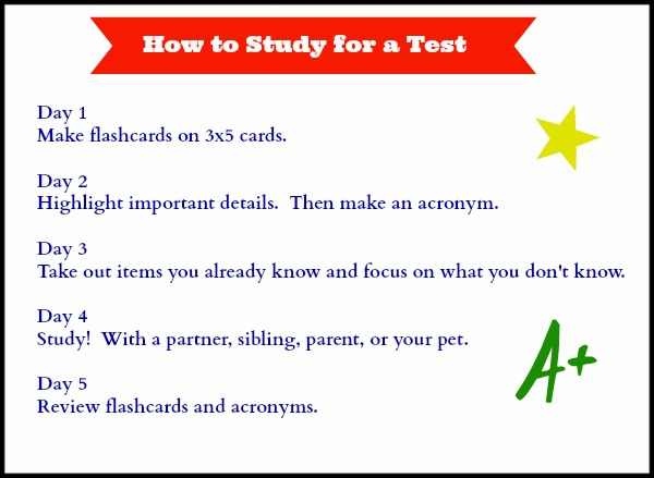 how to study for a test printable free follow the easy 5 day plan