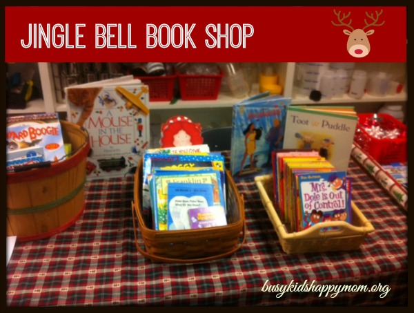 How to set up a Jingle Bell Book Shop - collect donations, select children, and distribute books. From busykidshappymom.org