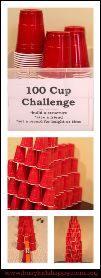 Rainy day games includes 100 Cup Challenge