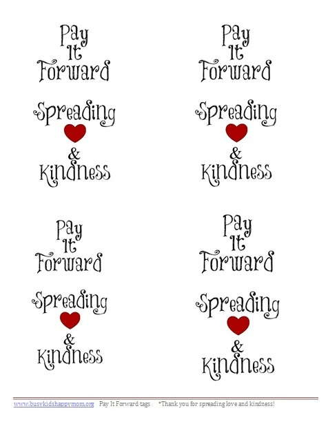 Pay It Forward printable tags