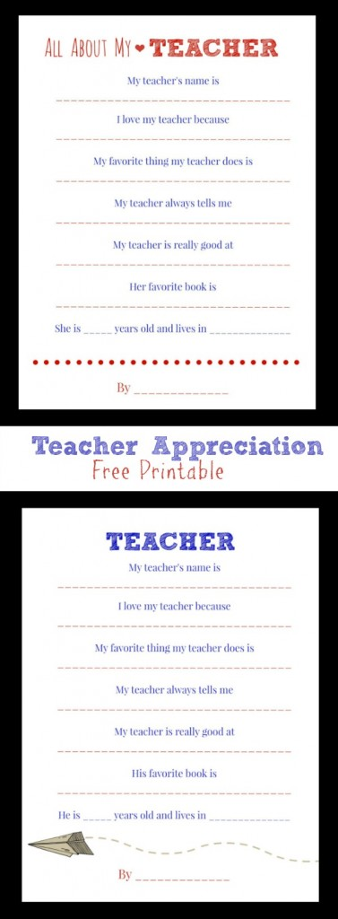 teacher appreciation questionnaire