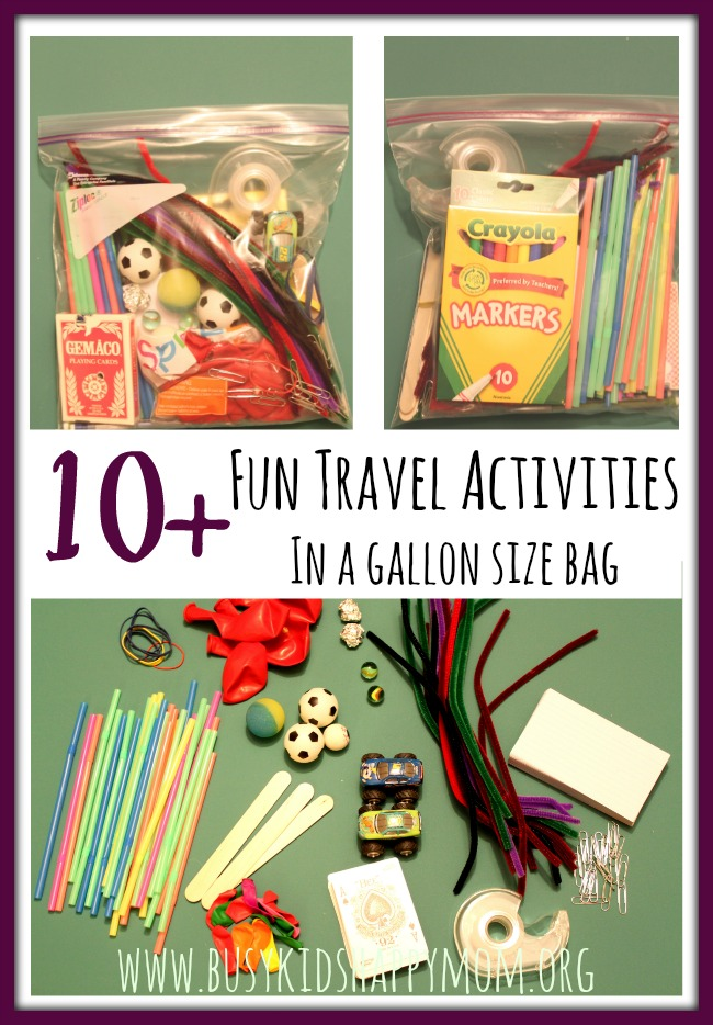 Gather these simple materials together. Now you're always prepared for home, travel, grandparents, etc. No searching. All materials will make it through airport security too. Genius!