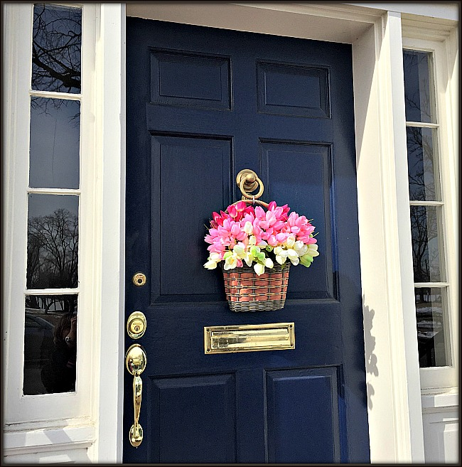 Front Door Spring Basket using DIY floral foam.
