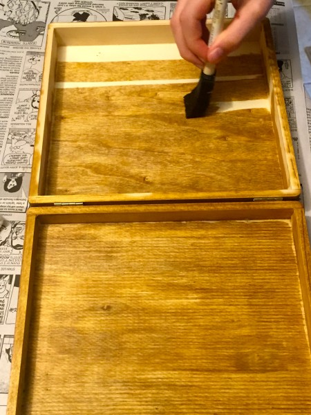 Staining the inside of our wooden LEGO box.