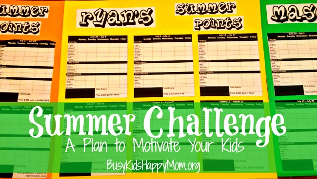 Use this poster to track your child's Summer Points. From Busy Kids Happy Mom.