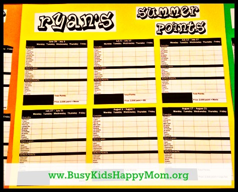 Summer Points Chart to challenge your kids from Busy Kids Happy Mom