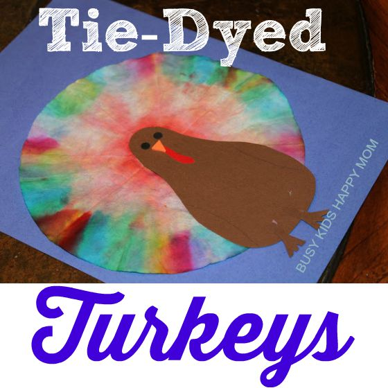 coffee filter turkey with tye-dye coffee filter art