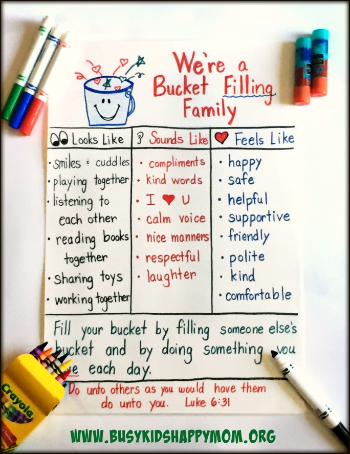 Have you filled a bucket today? Chart for home