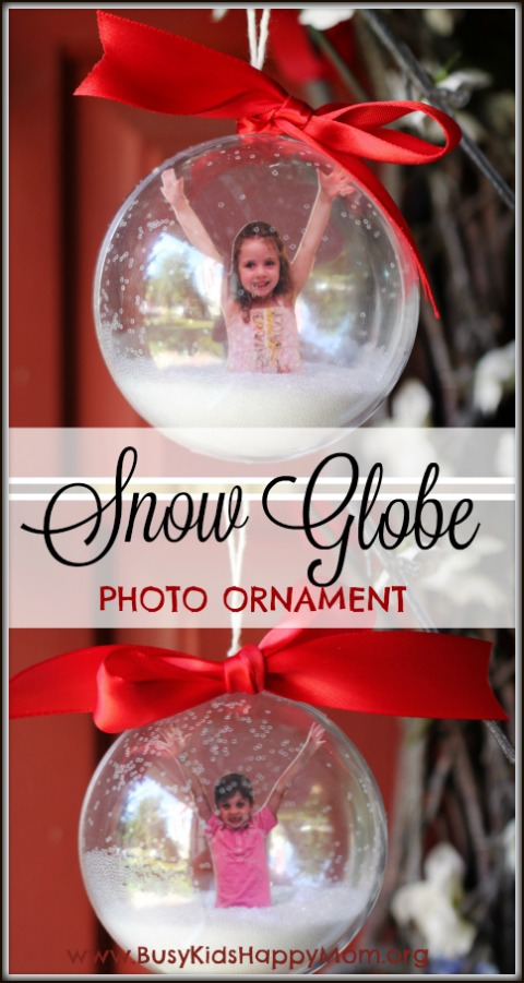 18+ Homemade Christmas Ornaments including this Snow Globe Photo Ornament